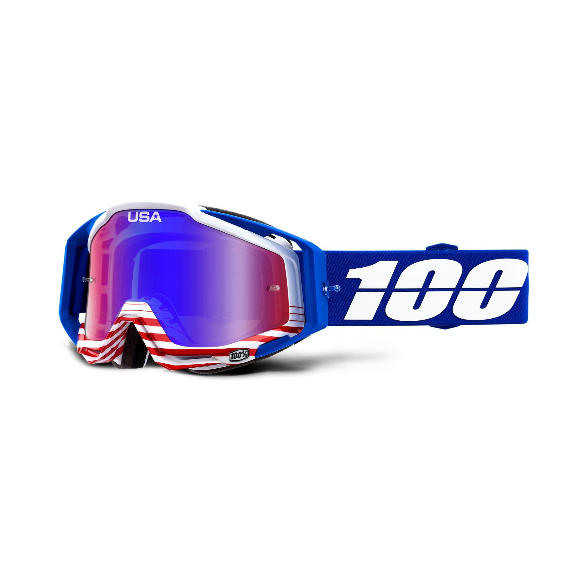 100/% Racecraft Goggles Blue Cobalt Blue//Mirror Blue Lens 50110-002-02