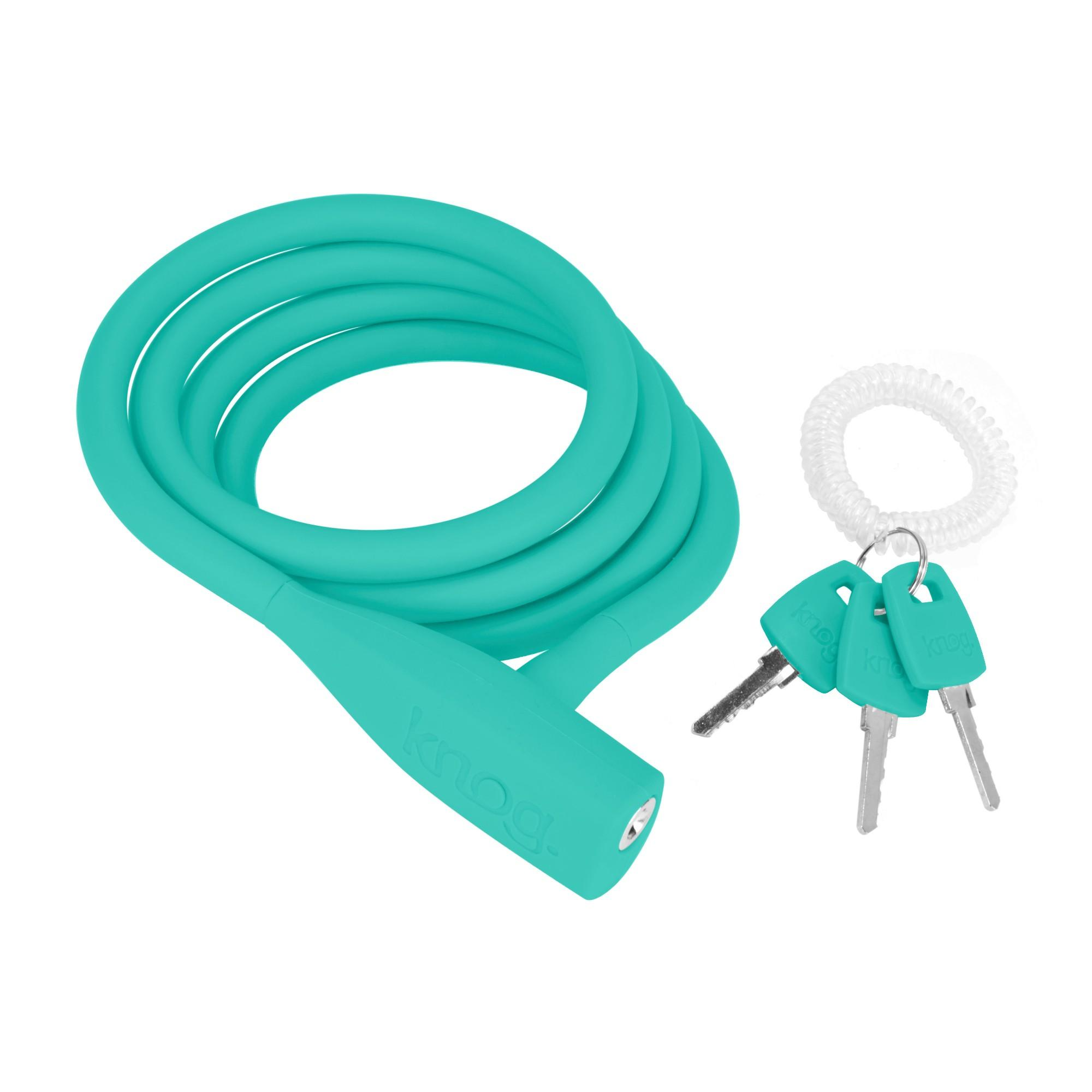 Knog Party Coil Cable Bike Lock Turquoise   Silverfish UK